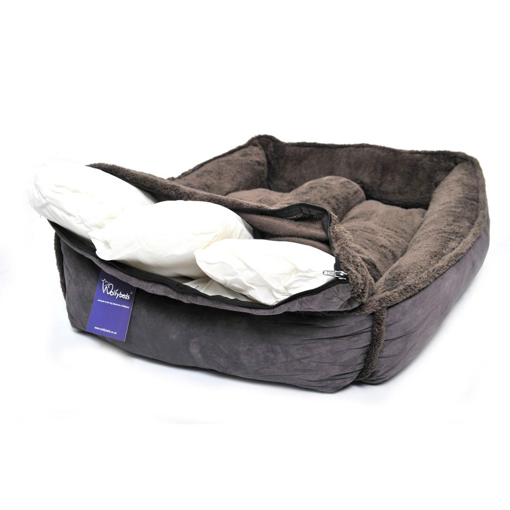 Slate grey fleece luxury cradle dog bed large extra for Luxury large dog beds